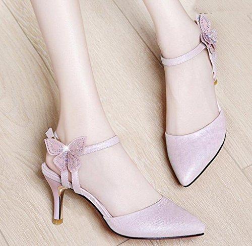 Pink Delgadas Nuevas Las Sandalias Tacón Atractivas Muyii Moda Coreana De Con Muchachas Verano Zapatos Alto wAYF6