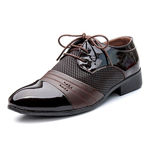 Up EU uomo 40 Oxfords Pelle shoes uomo Lace Marrone Smooth Lace Marrone Scarpe PU Leather Xiaojuan Color Scarpe da Uomo Dimensione traspirante Up da tSwnB7