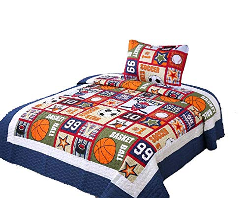 (Golden Linens Twin Size 2 Pieces Quilt Bedspread Set Kids New Designs for Boys & Girls (Sport -05))