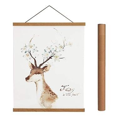 Magnetic Poster Hanger Frame, Light Wood Wooden Magnet Canvas Artwork Print Dowel Poster Hangers for 14x17 14x20 14x22 Frames Hanging Kit (Teak Wood, 14 )
