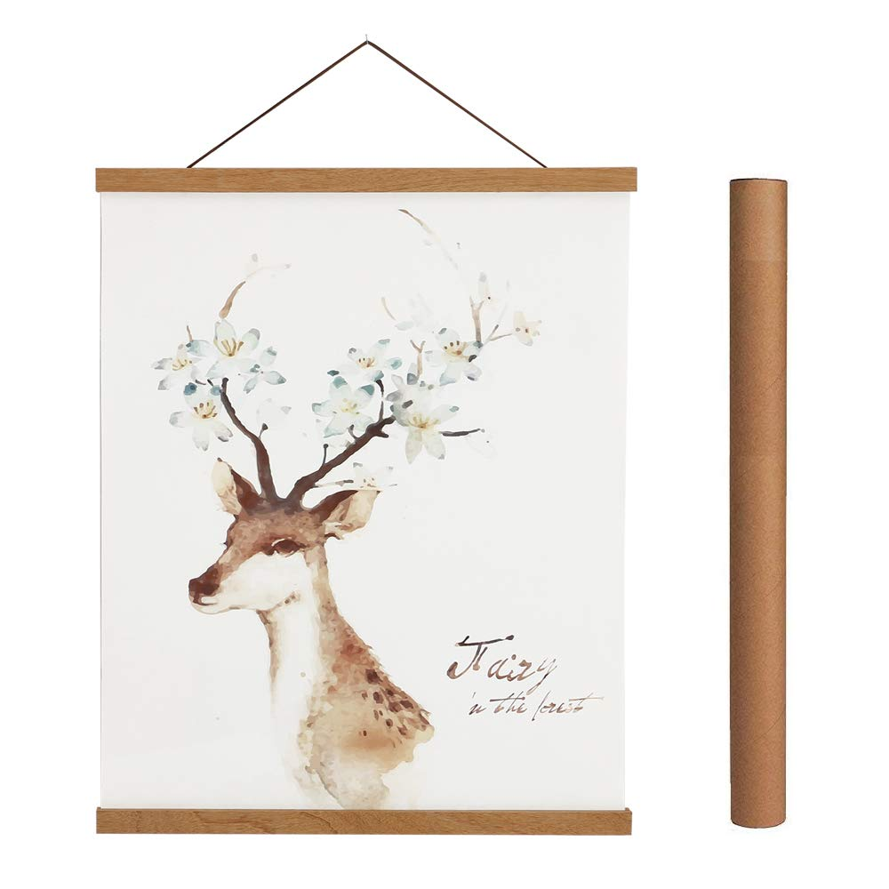 Magnetic Poster Hanger Frame, 10x14 10x30 10x8 Light Wood Wooden Magnet Canvas Artwork Print Dowel Poster Hangers Frames Hanging Kit (Teak Wood, 10'')