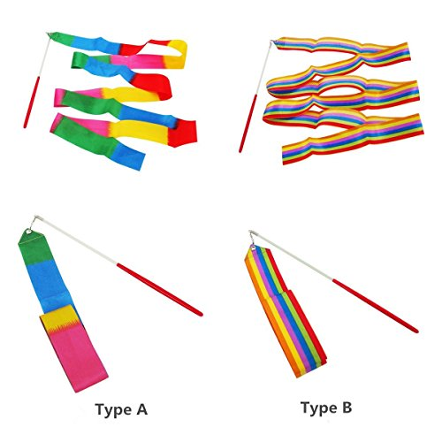 Anleo Ribbon Wand, Rhythmic Gymnastics/Dance Rainbow Silk Streamer with Stick for Kids Art Dancing 118.1 Inches/3M in Length Bright Color, 5PCS Style A/ 5PCS Style B in Random
