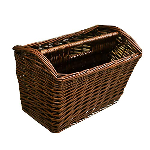(Jiayi Rattan Portable Storage Basket, Suitable for Storing Books, Magazines, Picnic Supplies, Red Wine, Etc, Using Wicker Weaving Technology, Durable)