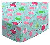 SheetWorld Extra Deep Fitted Portable Mini Crib Sheet - Flamingos Aqua Jersey Knit - Made in USA