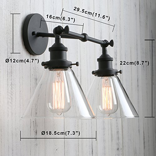 Permo Vintage Industrial Antique 2-Lights Wall Sconces with Dual Funnel Clear Glass Shade (Black) by PERMO (Image #2)