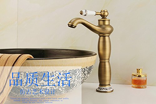 B Hlluya Professional Sink Mixer Tap Kitchen Faucet Antique-brass hot and cold single hole faucet, b