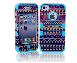 MagicSky PC + Silicone Galaxy Tribal Pattern Case for Apple iPhone 4/4S - 1 Pack - Retail Packaging - Blue wangjiang maoyi