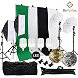Belle Max Photography Lighting Kit (2 Softbox & 2 Umbrellas) with 4 pcs 28W LED Bulbs, Photo Studio with Adjustable Background Support System with 4 Backdrop(Black/2xWhite/Green), Reflector and bag.