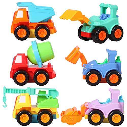 Toy Cars Construction Vehicles Party Favors Cake Decorations Topper Model Kit Set Plastic 6 Pcs Bulldoze Excavator Dump Truck Play Set Preschool Learning for Children Toddlers Kids Birthday Gift -