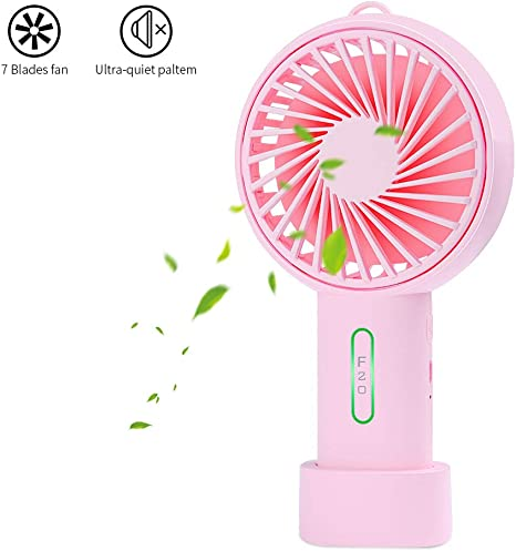 Color : Pink USB Table Desk Personal Fan Mini Handheld Fan Portable USB Fan with Night Lamp for Office Outdoor Camping Beach Etc Personal Travel Accessories for Home Office Table