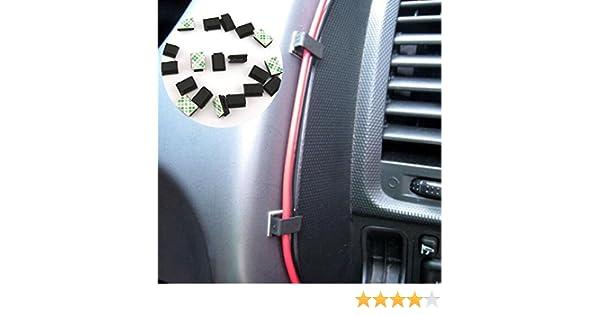 40pcs GPS Clips fijos SUV Show Cable de Datos ZAK168 40 Clips de Cable autoadhesivos para Coche Soporte de Cable de pl/ástico