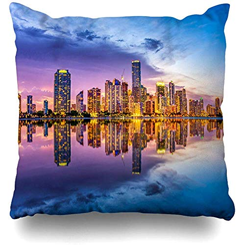 Throw Pillows Covers View Miami Florida USA Skyline Skyscrapers On Biscayne Parks Outdoor Key Cushion Case Pillowcase Home Sofa Couch Square Size 18