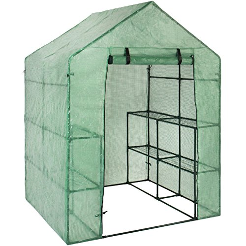 Best Choice Products 3-Tier 8-Shelf Portable Outdoor Mini Garden Walk-In Greenhouse, 57.5″ L x 56″ W x 76″ H – Green