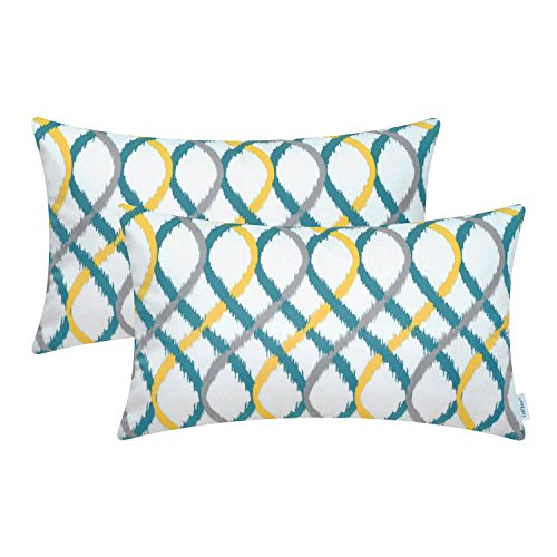 Cheap CaliTime Pack of 2 Cozy Fleece Bolster Pillow Cases Covers Couch Bed Sofa Modern Two-Tone Waves Geometric 12 X 20 inches Gray/Teal / Yellow