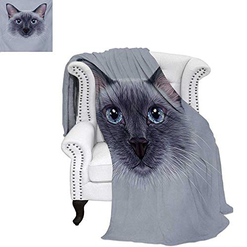 "warmfamily Animal Summer Quilt Comforter Portrait Image of Thai Siamese Cat with Retro Style Lettering Artwork Digital Printing Blanket 80""x60"" White Sky Blue and Grey"