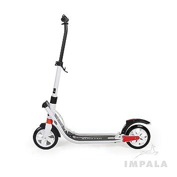 Impala Scooters Patinete de Lujo para Adultos, Moto de Gran Movilidad, Suspensión Plegable, Color Blanco y Negro (IM5)