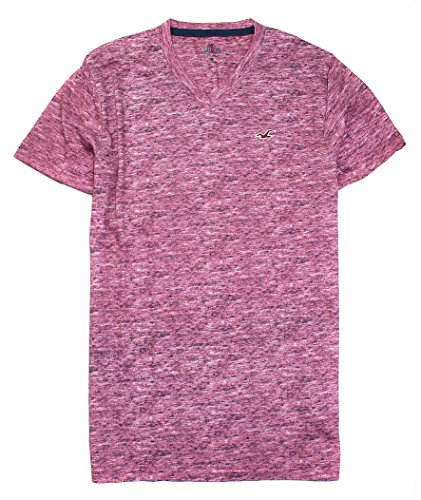 Hollister Men's Must-Have V Neck T-Shirt HOM V (Medium, Dark Rose 0971)