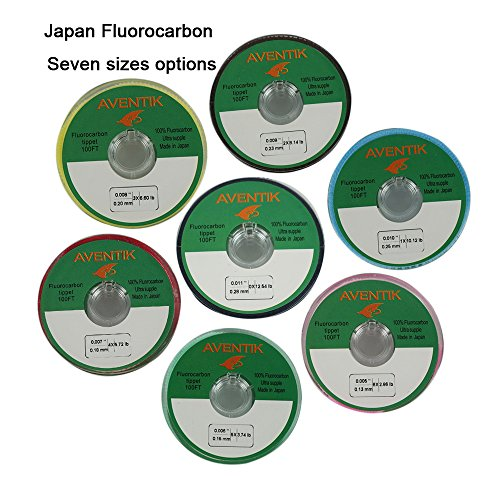 Aventik 3pcs/Lot 100% Fluorocarbon Tippet Super Strong, Supple, Fast Sinking, Invisible, Fly Fishing, Bass Fishing, Carp Fishing, Saltwater Fishing 30 Meter/Spool, 0X-6X (Fast Sinking Line)