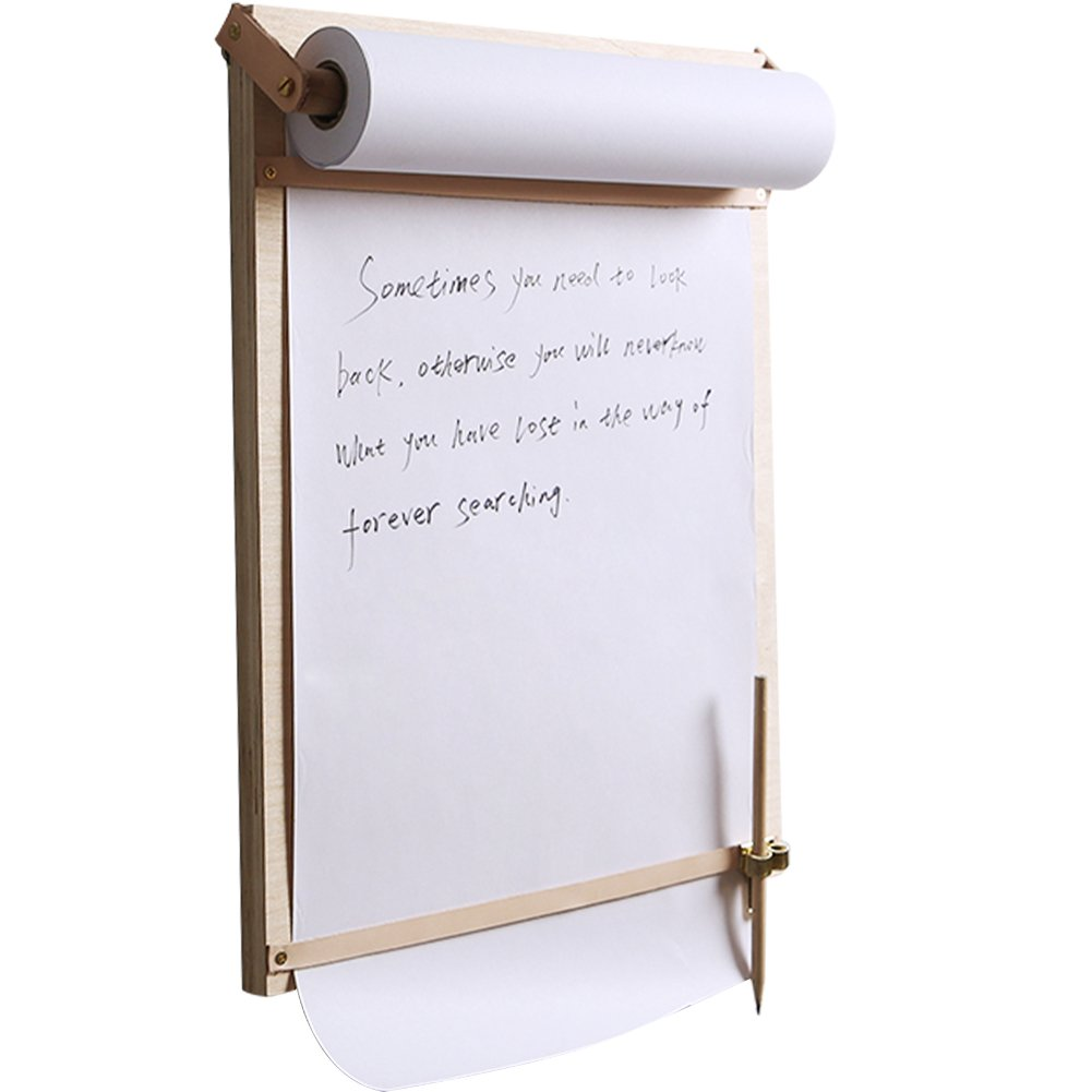WINGOFFLY Creative Wooden Wall Board Paper Roll Holder Dispenser with 11.8'' x 82' White Kraft Paper Perfect for Cafe Office Home