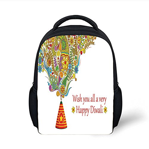iPrint Kids School Backpack Diwali,Tribal Festive Religious Celebration Cone with Star Spraying Paisley Artwork Print Decorative,Multicolor Plain Bookbag Travel Daypack by iPrint