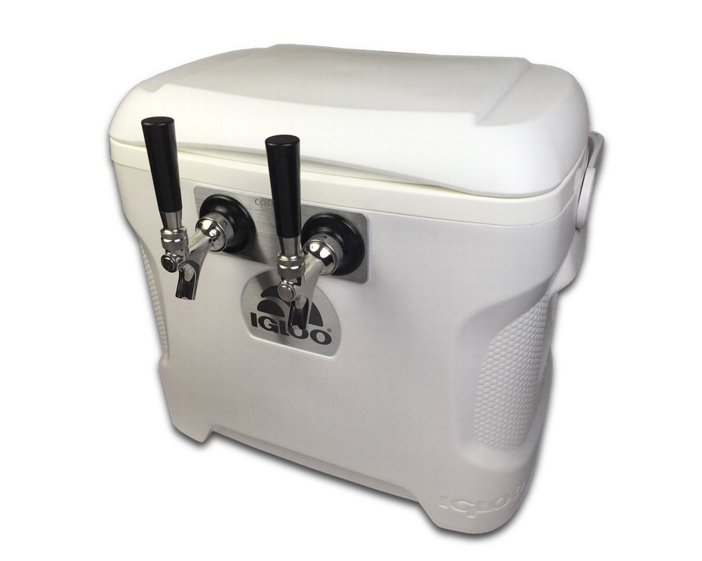 Coldbreak Brewing Equipment CBJB30QT2T Jockey Box, 2 Tap, Marine Pass Through, 30 quart Cooler, 50-foot Coils, 0.25'' ID, Sizenameinternal'' OD, Stainless Steel