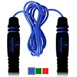 PowerSkip Jump Rope with Memory Foam Handles & Weighted Speed Cable - Best Jump Ropes for Fitness Workouts, Jumping Exercise, Skipping, MMA and Boxing