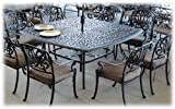 Heritage Outdoor Living Elisabeth Cast Aluminum 9pc Dining Set 64″x64″ Square Table – Antique Bronze