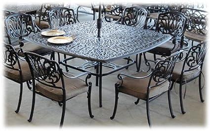 Heritage Outdoor Living Elisabeth Cast Aluminum 9pc Dining Set  64u0026quot;x64u0026quot; Square Table