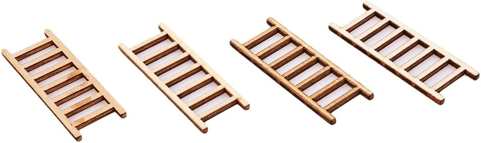 Yinew Mini escalera de madera, escalera de hadas, casa de muñecas, adornos para casa de muñecas, 4 piezas: Amazon.es: Hogar