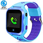 DUIWOIM Kids Smart Watch, Accurate GPS Tracker Phone Watches Children Girls Boys 1.44 inch Touch Screen Camera WiFi Waterproof Anti-Lost SOS Digital Wrist Watches(Blue)