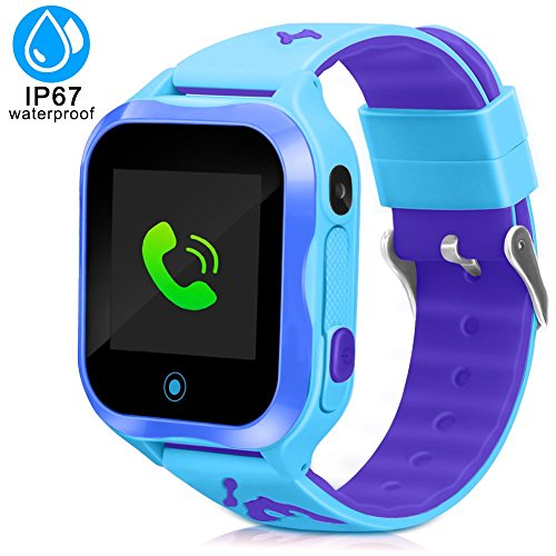 Kids Smart Watch, Accurate GPS Tracker Phone Watches for Children Girls Boys 1.44 inch Touch Screen Camera WiFi Waterproof Anti-Lost SOS Digital Wrist Watches (Blue)