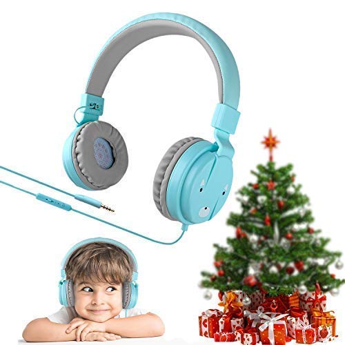 Kids Headphones with Microphone for Children,Foldable and Adjustable Direct Sound Delivering Earpad with Soft Cushion Wired Headset, Gift Package Good be a Present for boy or Girls