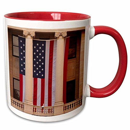 3dRose Danita Delimont - Flags - USA, GA, Savannah, Savannah City Hall displaying the American flag. - 11oz Two-Tone Red Mug - Savannah Outlets Ga