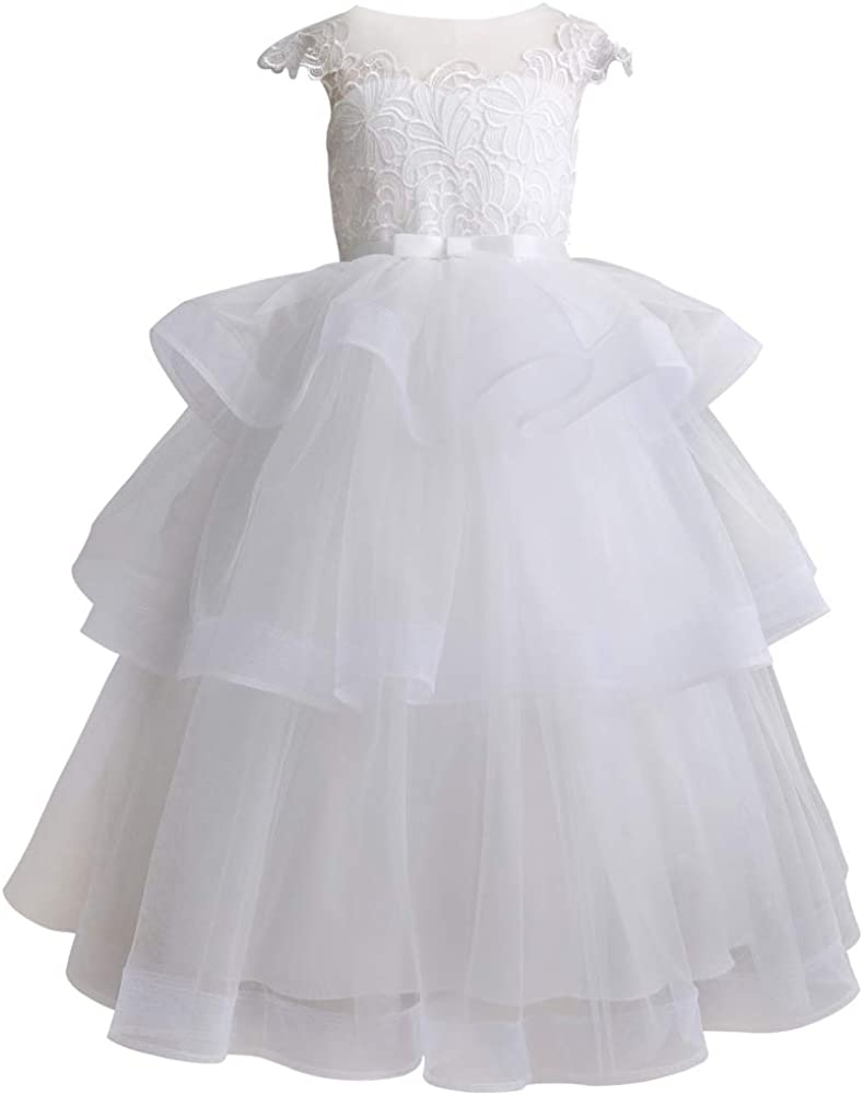 Flower Girl Dresses White Lace Dress Ankle Length Dress Wedding Bridesmaid Christening Princess Party Pageant Ball Gown Dress Hollow V-Shape Back
