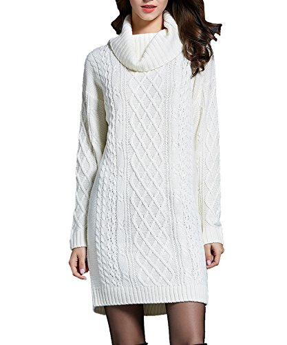 BOBIBI Women's Cowl Neck Cable Knit Long Sleeve Knitwear Pullover Sweater Mini Dress Top