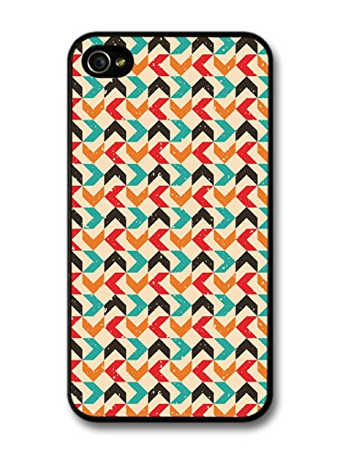 Arrow Pattern in Hand Drawn Style with Turquoise Orange and Red coque pour iPhone 4 4S