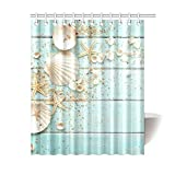 InterestPrint Seashell Home Decor, Sand Starfish Blue Wooden Back Polyester Fabric Shower Curtain Bathroom Sets 60 X 72 Inches