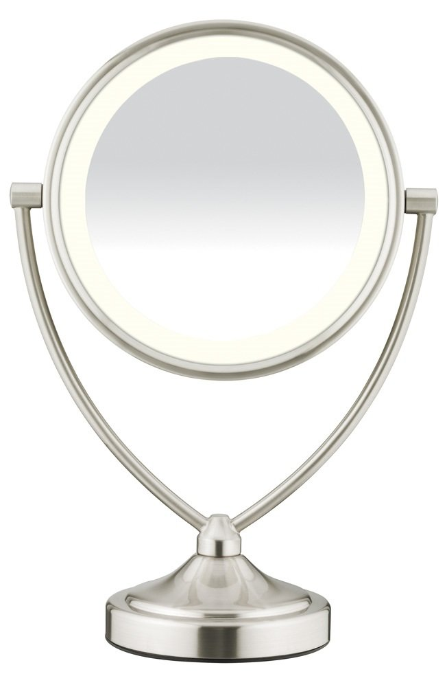Conair Natural Daylight Double-Sided Lighted Makeup Mirror - Lighted Vanity Makeup Mirror; 1x/10x magnification; Satin Nickel Finish by Conair
