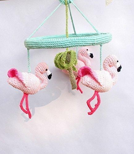 Pink Flamingo Baby Mobile, Baby Girl Nursery Mobile with Crochet Flamingos