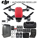 DJI Spark Portable Mini Drone Quadcopter Fly More Combo Hardshell Backpack Bundle (Lava Red)