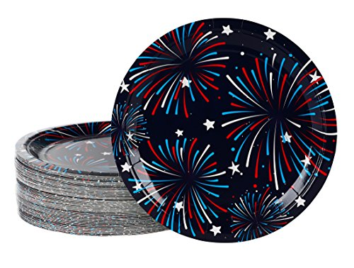 Paper Fireworks (Disposable Plates - 80-Pack Fireworks Paper Plates American Party Supplies for America-Themed, Patriotic Parties, 9 x 9 Inches)