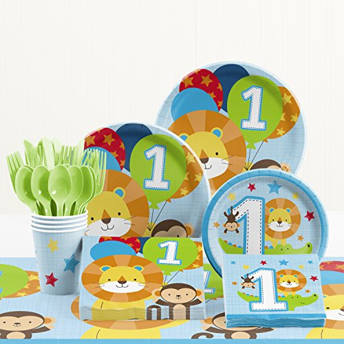 Creative Converting One is Fun Boy 1st Birthday Party Supplies Kit ()
