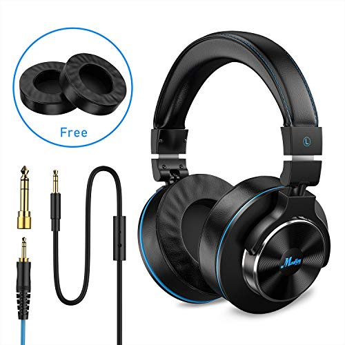 Moukey Wired Over-Ear DJ Stereo Monitor Headphones, Professional Studio Monitor & Mixing, Adapter-Free Closed Back, Telescopic Arms, 3.5mm and 6.35 mm Plug Newest Japanese Drive Unit,Free Independent