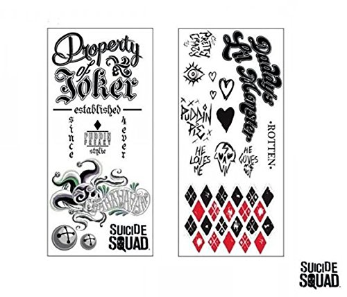 Suicide Squad Harley Quinn Cosplay Costume Joker Temporary Tattoos