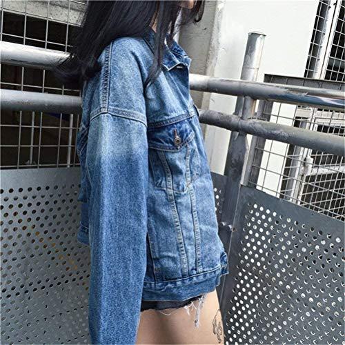 Giovane Stampate Eleganti Autunno Sciolto Cappotto Outerwear Moda Jeans Con Manica Giacche Casuali Classiche Donna Primaverile tasca Giubbino Blau Women Digitale Lunga Multi Pulsante Giaccone 0x8wtxY