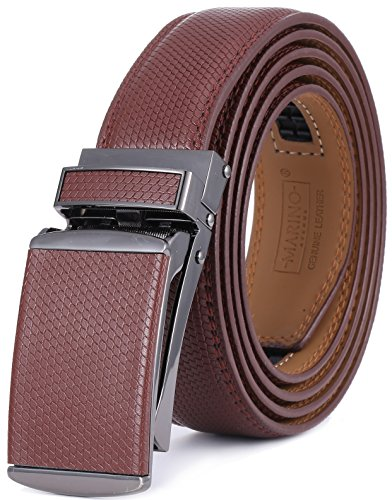Marino Avenue Men's Genuine Leather Ratchet Dress Belt with Linxx Buckle - Gift Box (Brown - Style 166, Adjustable from 38