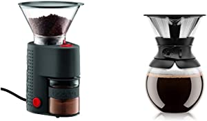 Bodum Bistro Burr Grinder, Electronic Coffee Grinder with Continuously Adjustable Grind, Black & Pour Over Coffee Maker with Permanent Filter, 1 Liter, 34 Ounce, Black Band
