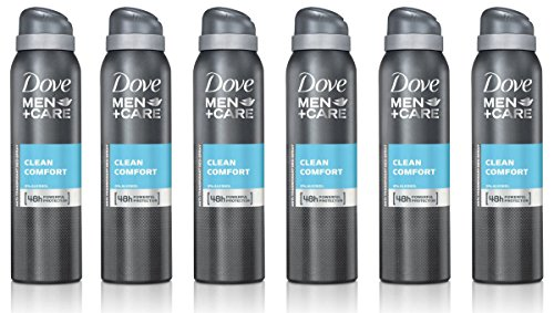 Ensemble de 6 Dove Men + Care Comfort Clean Spray déodorant & anti-transpirant 150ml/5,07 Oz
