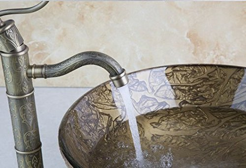 GOWE Painting Bathroom Round Art Washbasin Tempered Glass Vessel Sink With Antique Brass Faucet Set 1