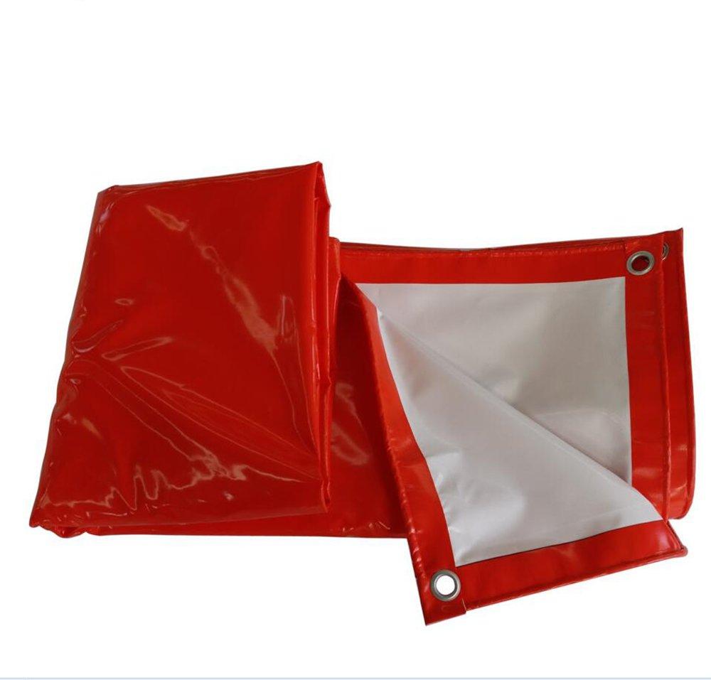 赤と白の2色の雨の布の日焼け止め防風布のカバー布のタプロリン520グラムの日焼け止めのPVCコーティングプラスチック布の屋外日よけ布 ( 色 : 赤 , サイズ さいず : 3*4m ) B07CRXWSTV 3*4m|赤 赤 3*4m